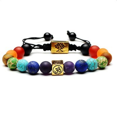 Chakra Tree Of Life Multi color Beads Natural Stone Weave Rope Bracelet*