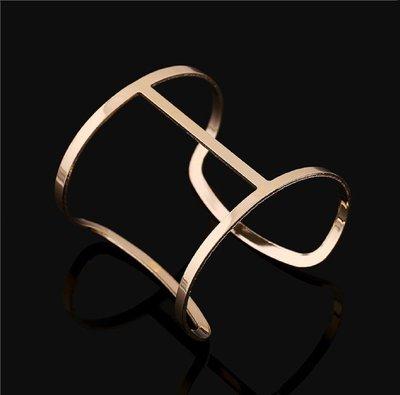 Gold Hollow Bangle Bracelet Adjustable*