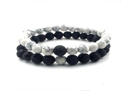 White Howlite stone and Volcanic Rock Lava Stone Beads Bracelets stretch set