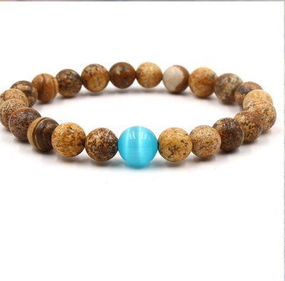Unisex Quartz Malachite Lapis Lazuli gold sand Stone Opal Bracelet*
