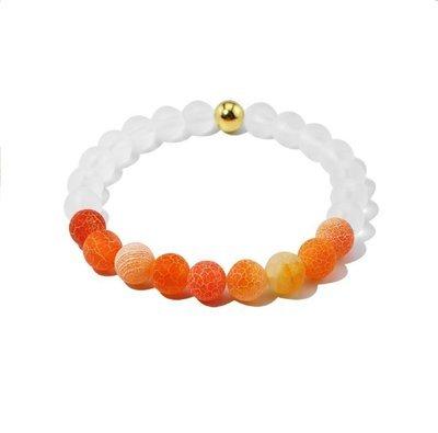 Orange agate beaded frosted crystal bracelet*