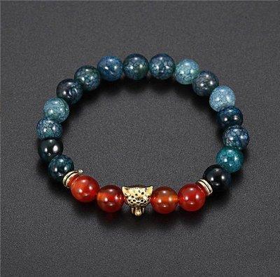 Men's Agate Crystal stone Leopard head Bracelet