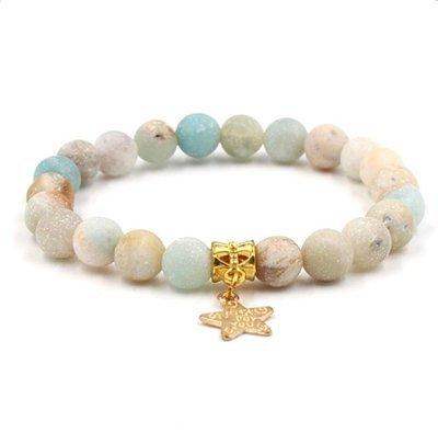 Natural Frosted Stone Star Pendant Elastic Bracelet*