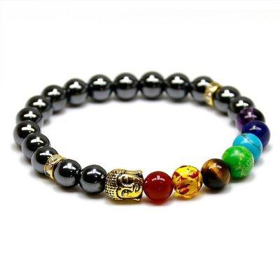 7 Reiki Chakra natural Black/Onyx/Hematite Stone Bead Charm Bracelet*
