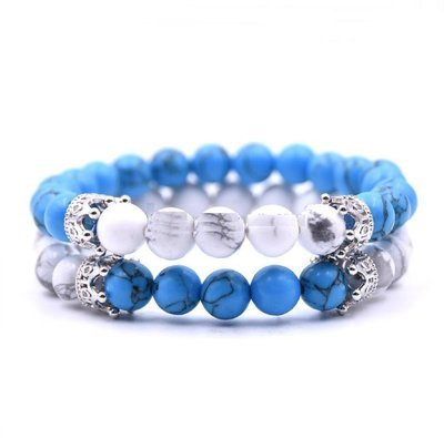 White Agate  Howlite Stone Crown King Beads His and Hers Couple Lover Bracelet Jewelry*