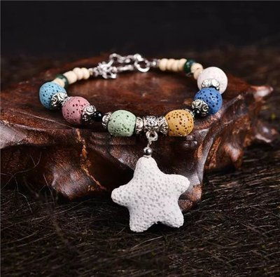 Colorized Star Natural Lava Stone Essential Oil Diffuser Bracelet Chromatic Aromthraphy Beads Bangle Women Jewelry*