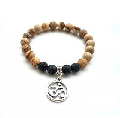 Natural Lava Stone Tiger's Eye Lotus Charm Bracelet