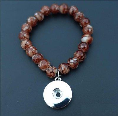 Kids Girls 15cm Length Glass Beads Noosa Chunks Snap Buttons Bracelet