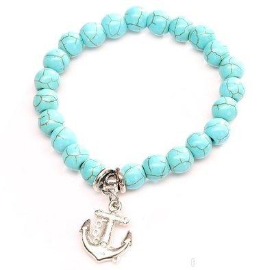 Anchor Turquois Charm Bracelet*