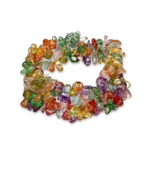 Elastic Natural Stone Multi layers Fluorite Gems mixed color Crystal Stone Bead Bracelet