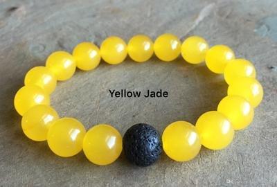 Yellow Jade and Lava Bead