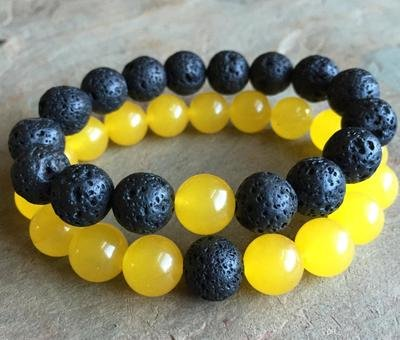 Yellow Jade AND  Black Lava Beads SET (2)