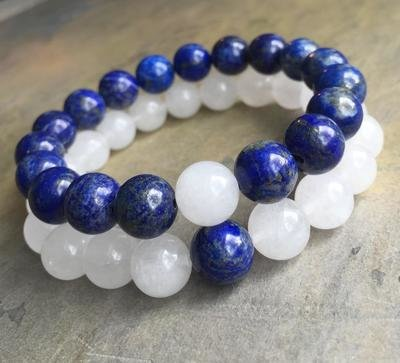 White Jade AND Lapis Lazui Bracelets SET (2)
