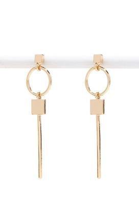Gold Retro stud square circular geometry earrings