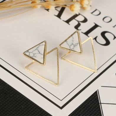 Faux Marble Gold Plated Triangle Geometric Ear Studs