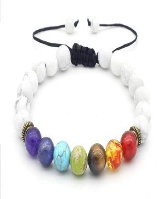 7 Chakra Healing balance beads weave Rope Bracelet