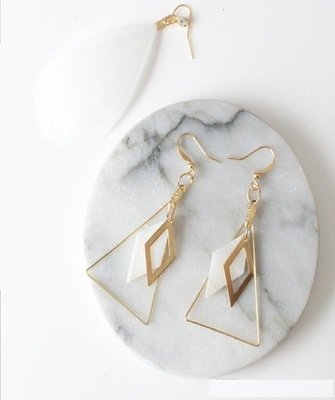 Triangle Stone White Shell Dangle Earrings