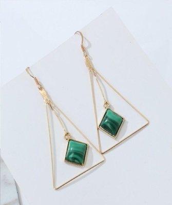 Triangle Stone Green Shell Dangle Earrings