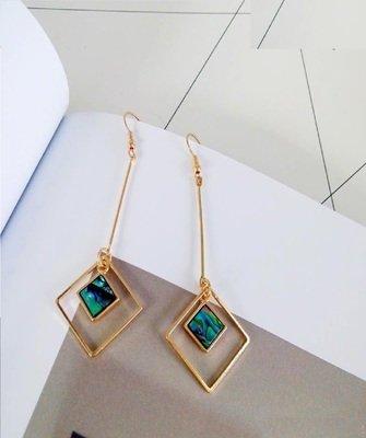Shells minimalist geometric pendant long Straight Triangle earrings