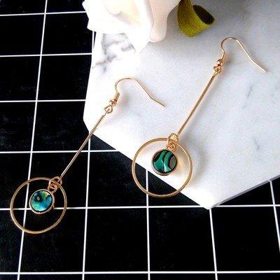 Shells minimalist geometric pendant long Circular earrings