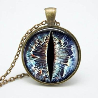 Ice Blue Dragon Eye Pendant Necklace