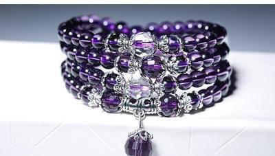 Purple  Amethyst Crystal Natural Stone Bracelet Necklace (Mala beads)