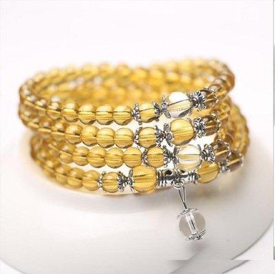 Yellow Crystal Natural Stone Bracelet Necklace (Mala beads)