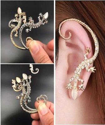 Gold gecko lizard elegant plated earrings(1 earring per purchase)
