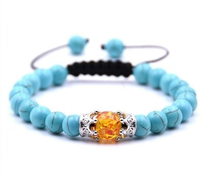 Woven adjustable turquoise Amber beaded bracelet with double crown