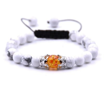 Woven adjustable White Howlite beaded Amber beaded bracelet with double crown