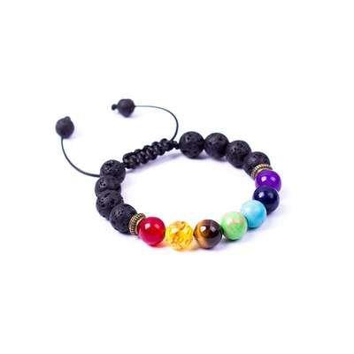Adjustable Lava Diffuser Kids Chakra Bracelet