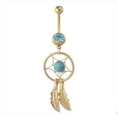 Gold Dream Catcher Feather stone navel Piercing