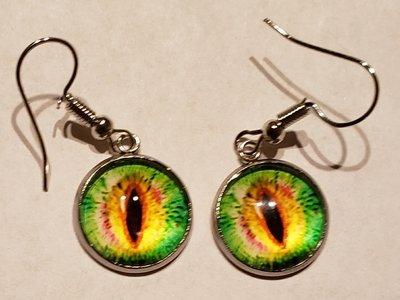 Lime Green/Yellow Crystal Eye  Earnings