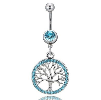 Blue Tree of Life Charm Belly Button Ring