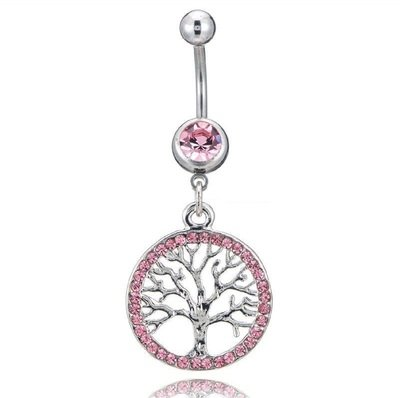 Pink Tree of Life Charm Belly Button Ring