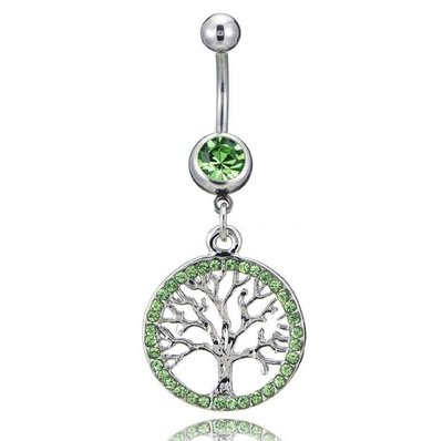 Green Tree of Life Charm Belly Button Ring
