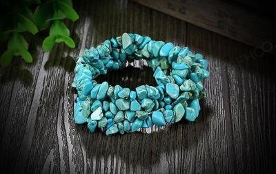 Elastic Natural Stone Multi layers Flourite Turquoise Crystal Stone Bead Bracelet