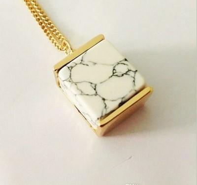 Marble Square Necklace Pendant
