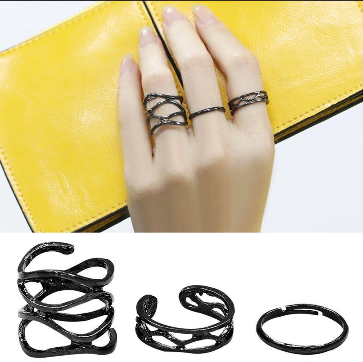 3 Pcs Matte Black Knuckle Rings