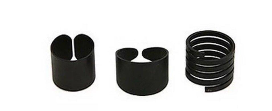 3pc Women Adjustable Black Band Midi Rings set
