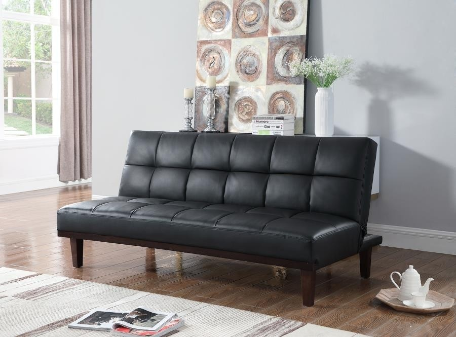 Brilliant Omana Black Leatherette Sofa Bed By Coaster Caraccident5 Cool Chair Designs And Ideas Caraccident5Info