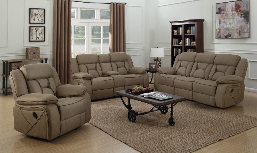 Admirable Houston 3 Pc Tan Faux Suede Manual Recliner Sofa Set By Coaster Evergreenethics Interior Chair Design Evergreenethicsorg