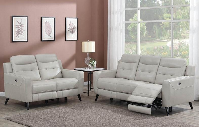 Awe Inspiring Lantana 2 Pc Beige Leather Vinyl Power Recliner Sofa Set By Coaster Gmtry Best Dining Table And Chair Ideas Images Gmtryco