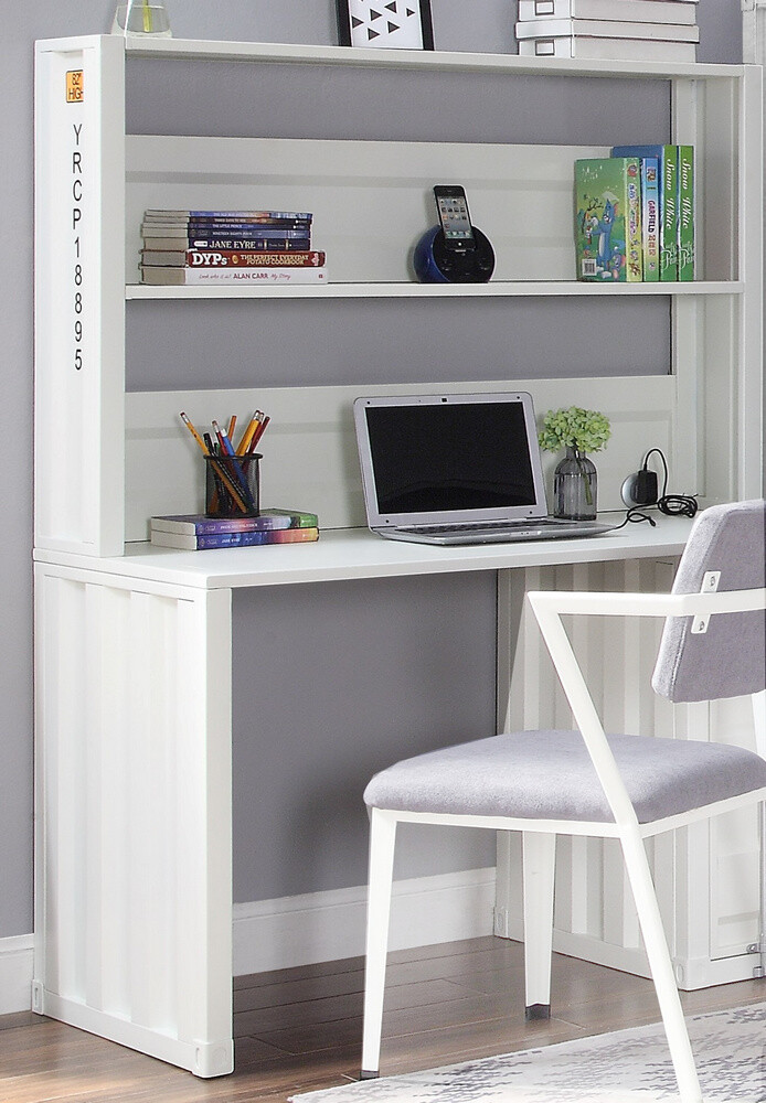 Cargo White Metal Computer Desk Hutch By Acme