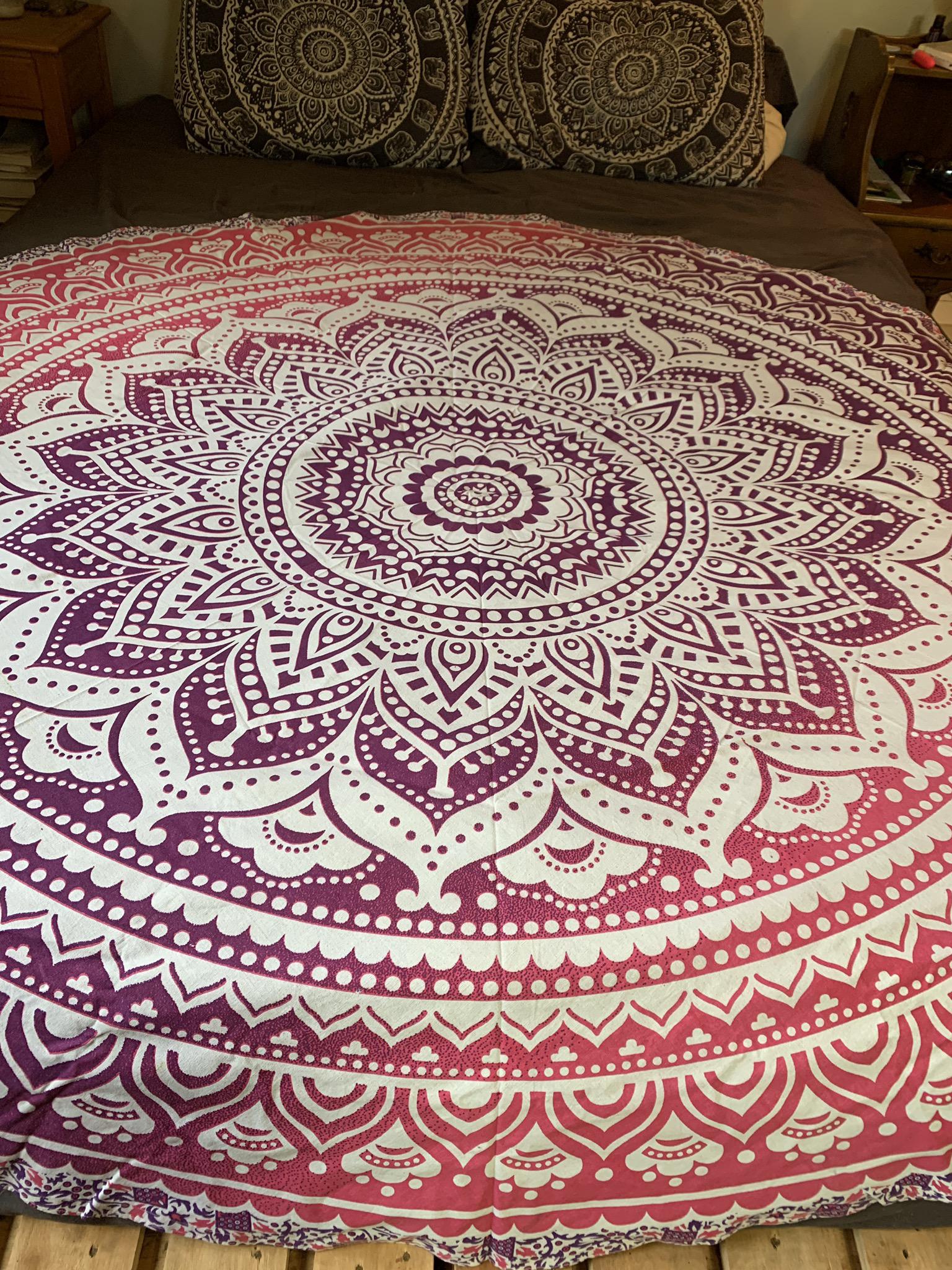 Large Pink Mandala Tapestry 00085