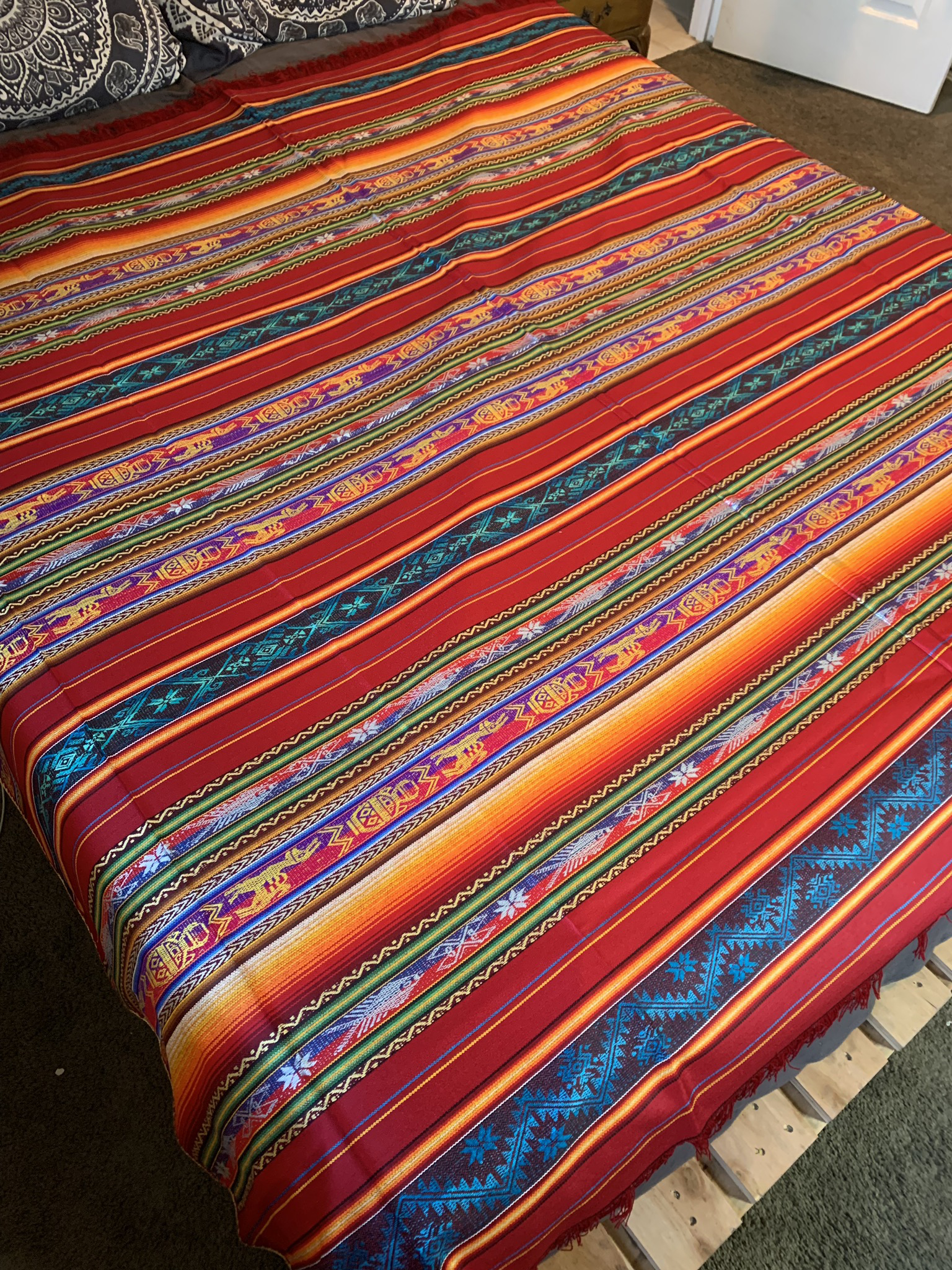 Large Red Mexican Tablecloth