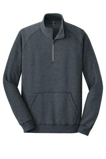 District Men's Lightweight Fleece 1/4-Zip Shirt w/ Embroidered Logo