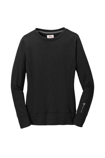 Anvil® Ladies French Terry Crewneck Sweatshirt - Black w/ heat-sealed logo EPEFI-JVVAC