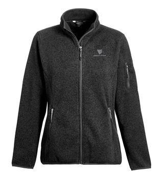 Ladies Ashton Sweater-Knit Fleece Jacket - Black w/ Embroidered Logo NSNLI-JNSSK
