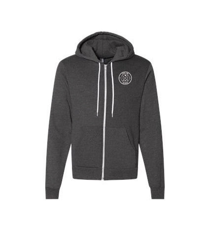 American Apparel USA-Made Flex Fleece Hooded Full-Zip Sweatshirt - Dark Heather Gray w/ Heat Sealed Logo GREJD-MBSWF